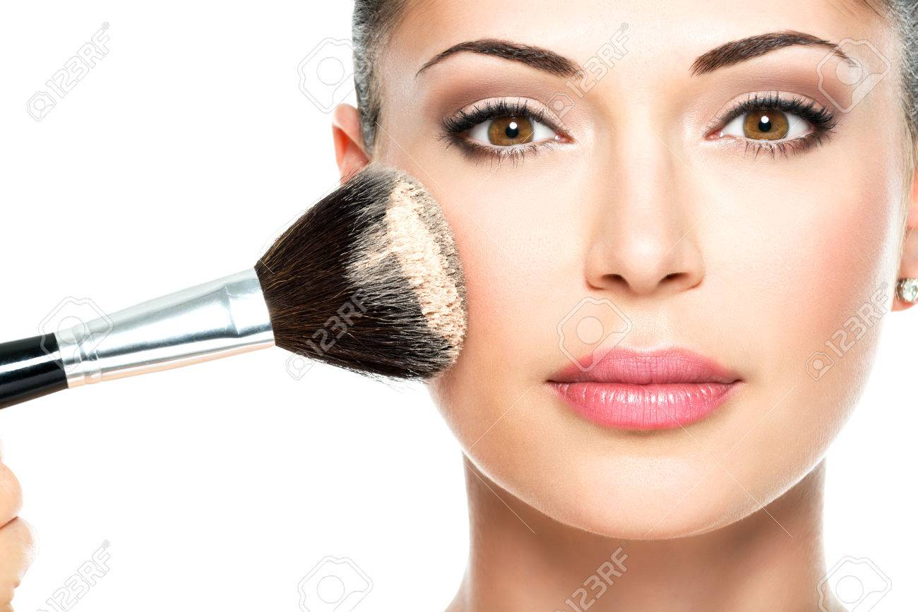 Closeup Portrait Of A Woman Applying Dry Cosmetic Tonal Foundation Stock Photo Picture And Royalty Free Image Image 26256323