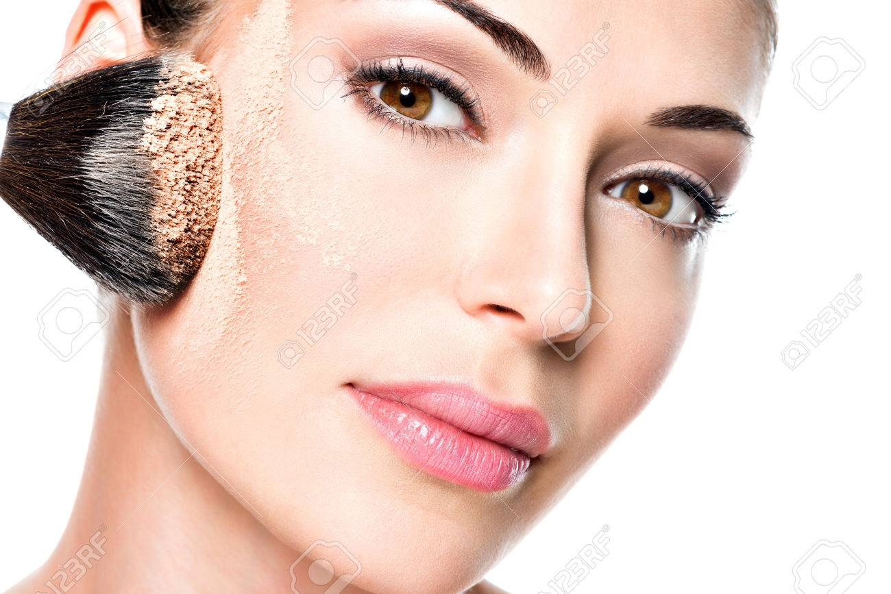 Woman Applying Dry Cosmetic Tonal Foundation On The Face Using Stock Photo Picture And Royalty Free Image Image 26256328