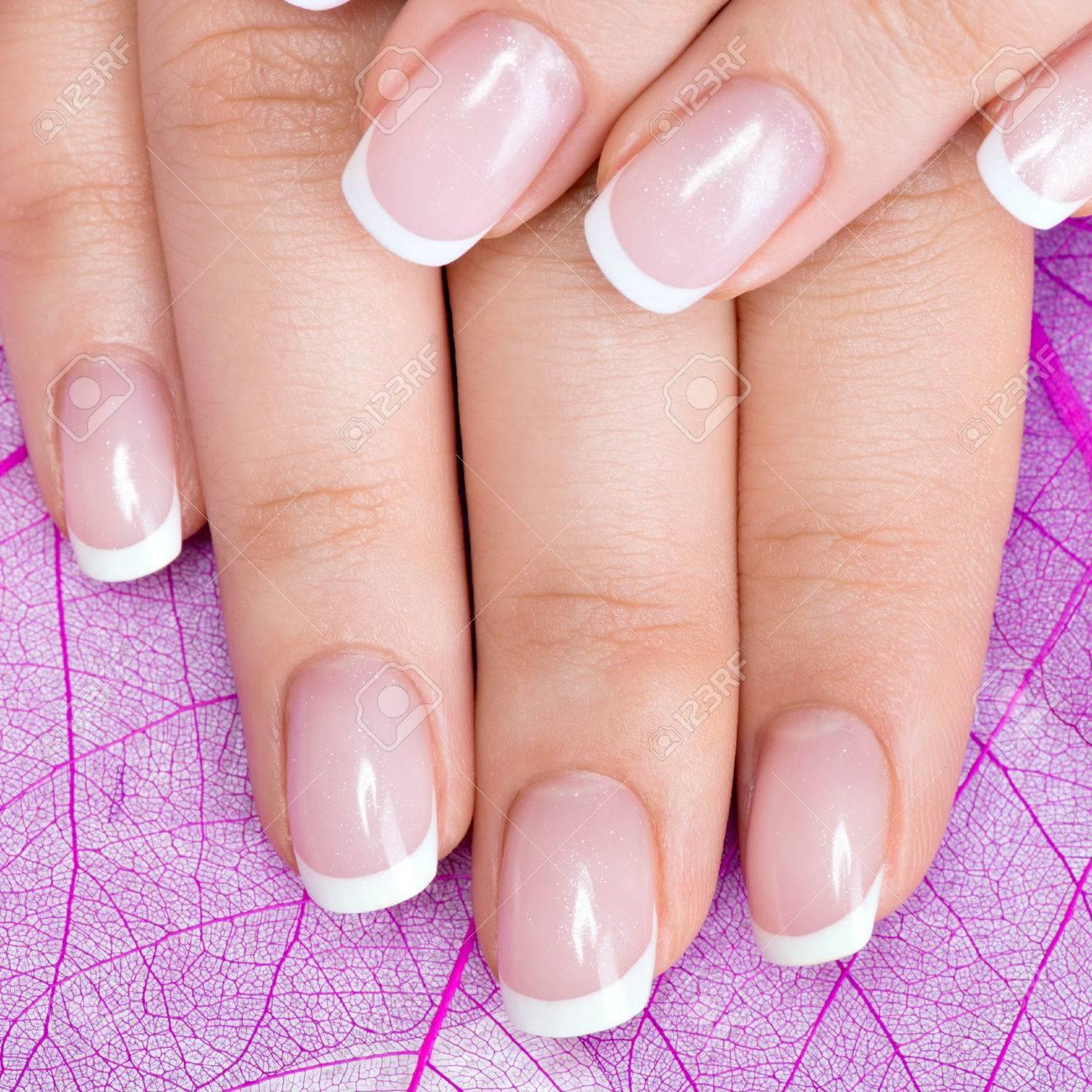 Beautiful Woman\'s Nails With Beautiful French Manicure Stock Photo ...