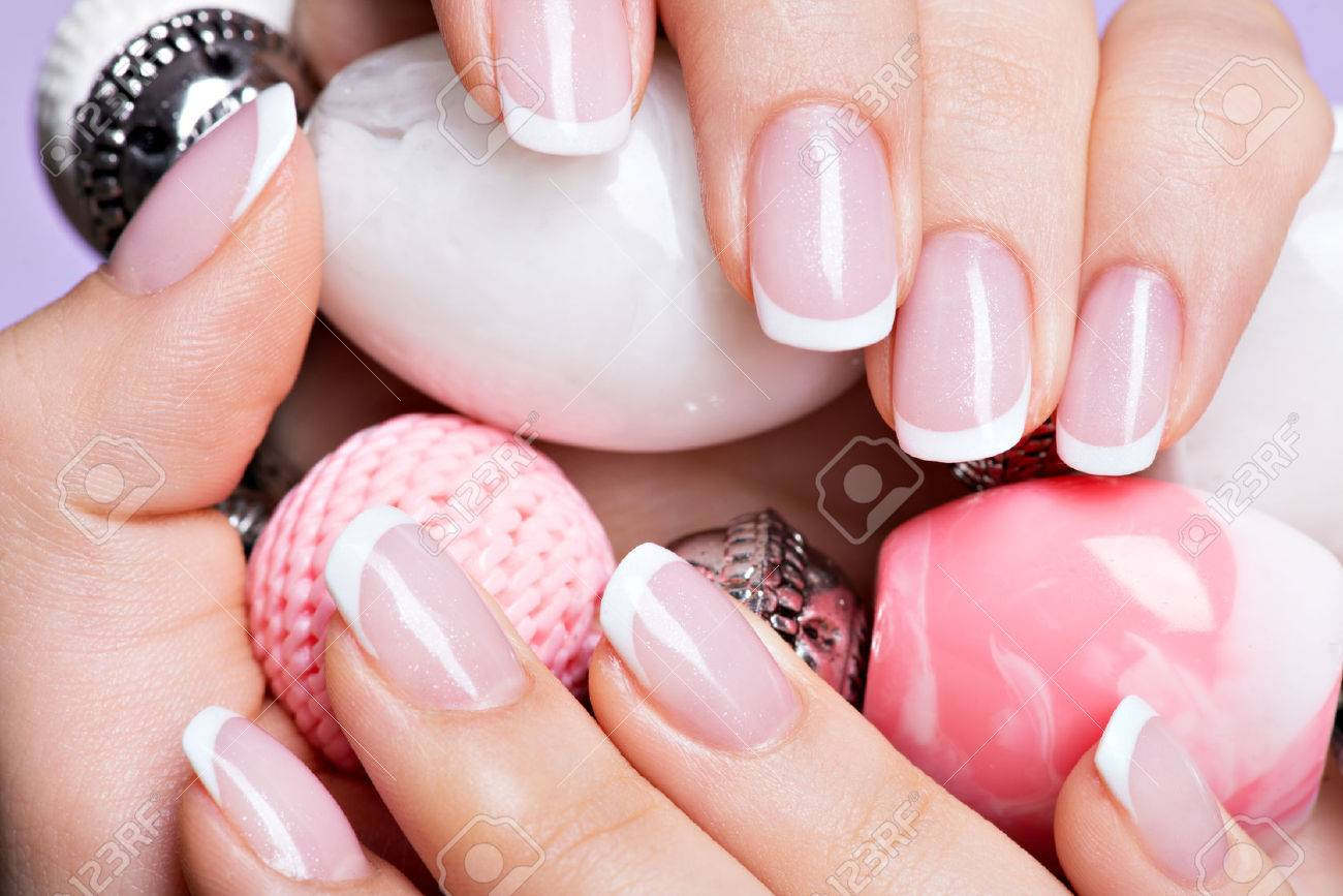 Beautiful Woman\'s Nails With Beautiful French White Manicure Stock ...
