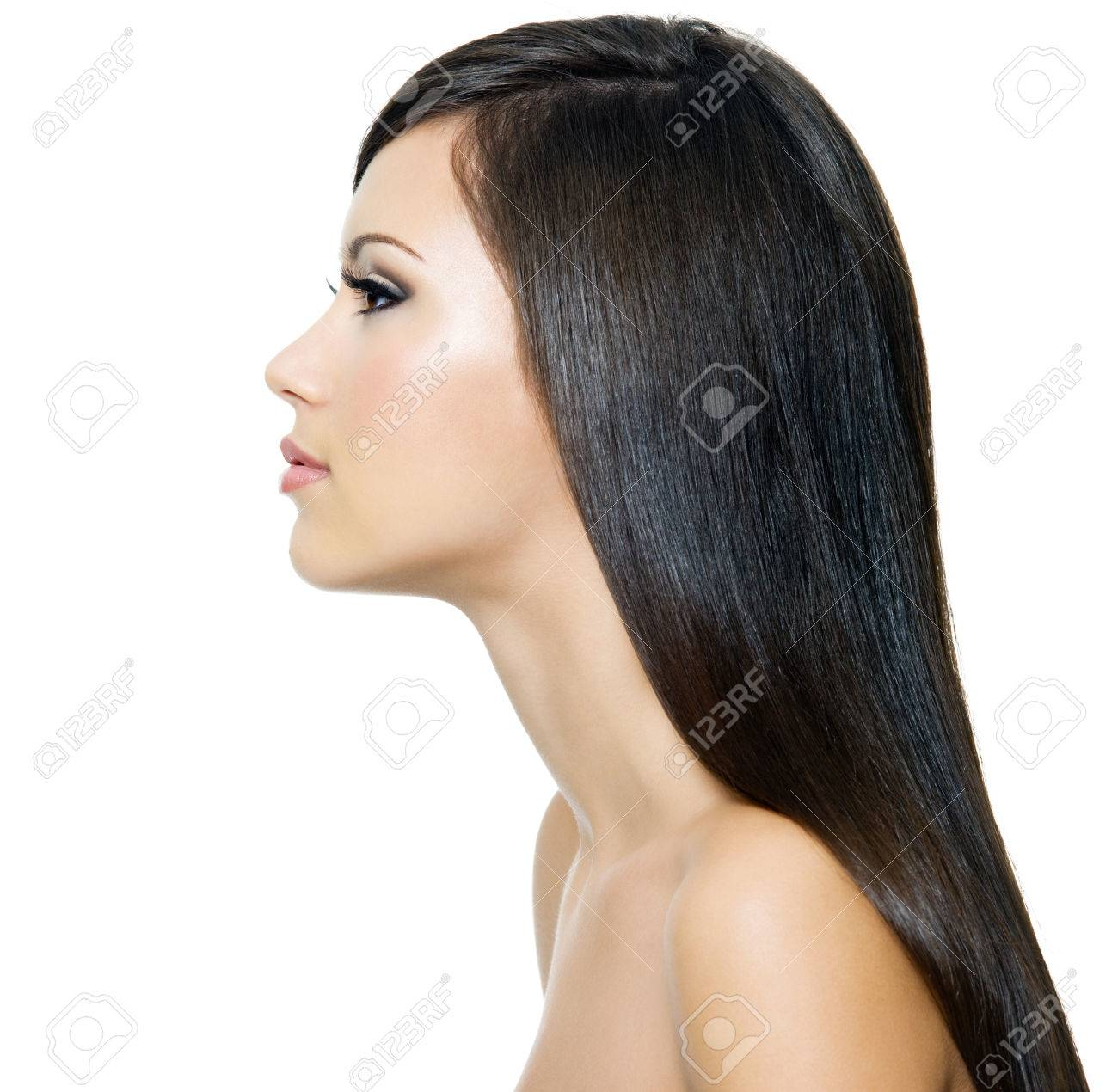 Beautiful woman with long straight brown hai,  isolated on white background. Profile portrait. Stock Photo - 53558593