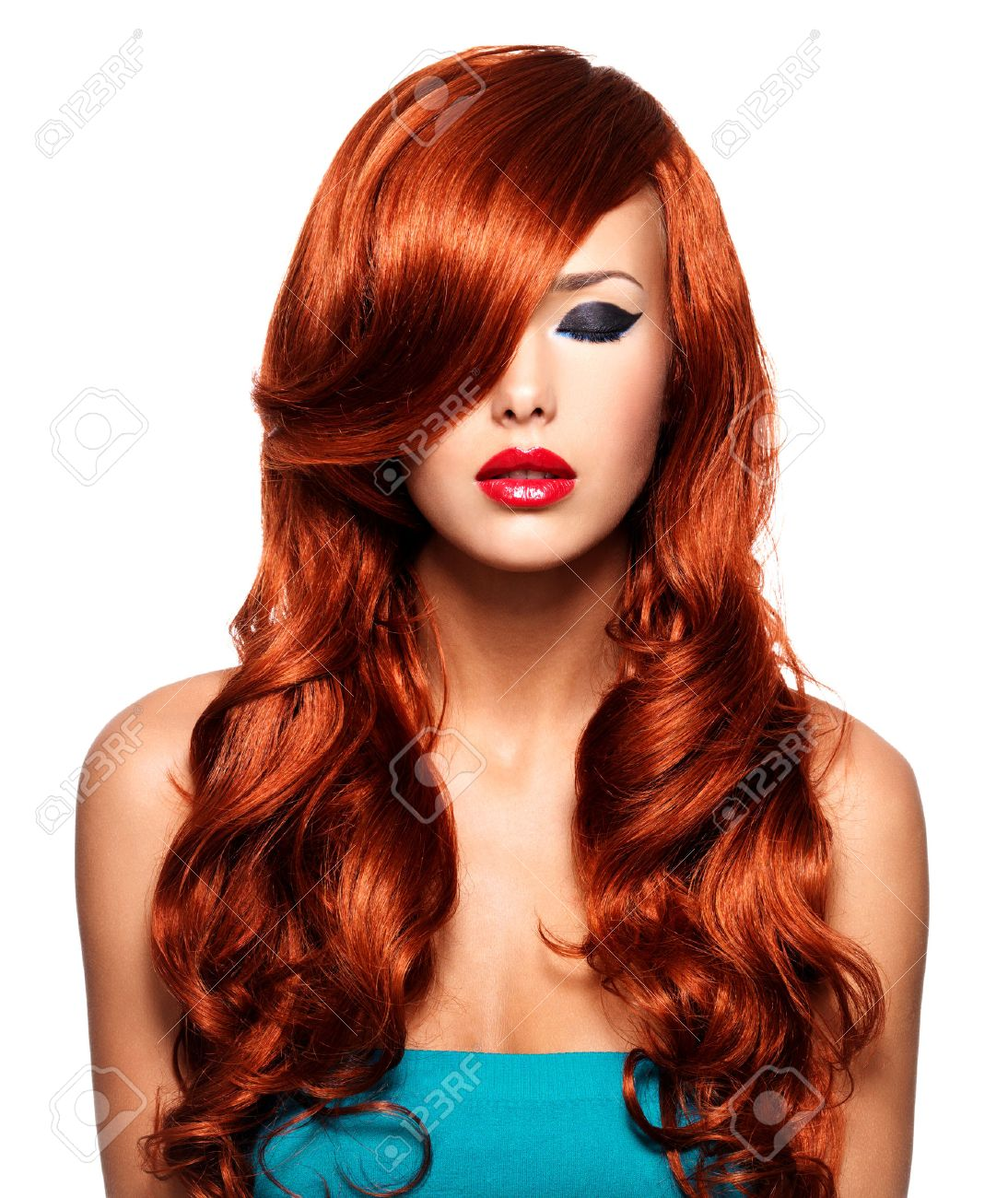 Portrait of beautiful woman with long red hairs and red lips. Calm face of adult pretty girl, isolated on white. - 54383348