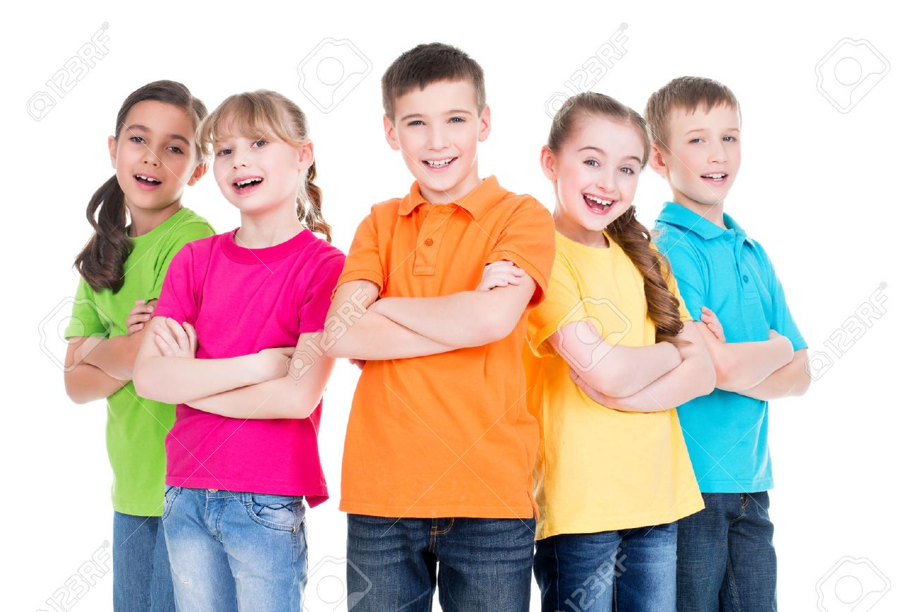 Group of smiling children with crossed arms in colorful t-shirts standing together on white background. - 54184598