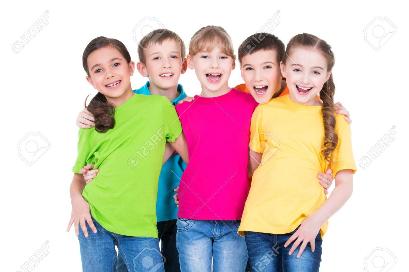 Group of happy children in colorful t-shirts standing together on white background. - 54184465