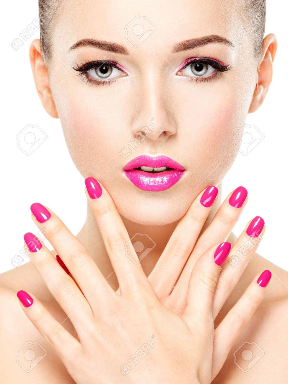 Beautiful Woman Face With Pink Makeup Of Eyes And Nails. Glamour ...