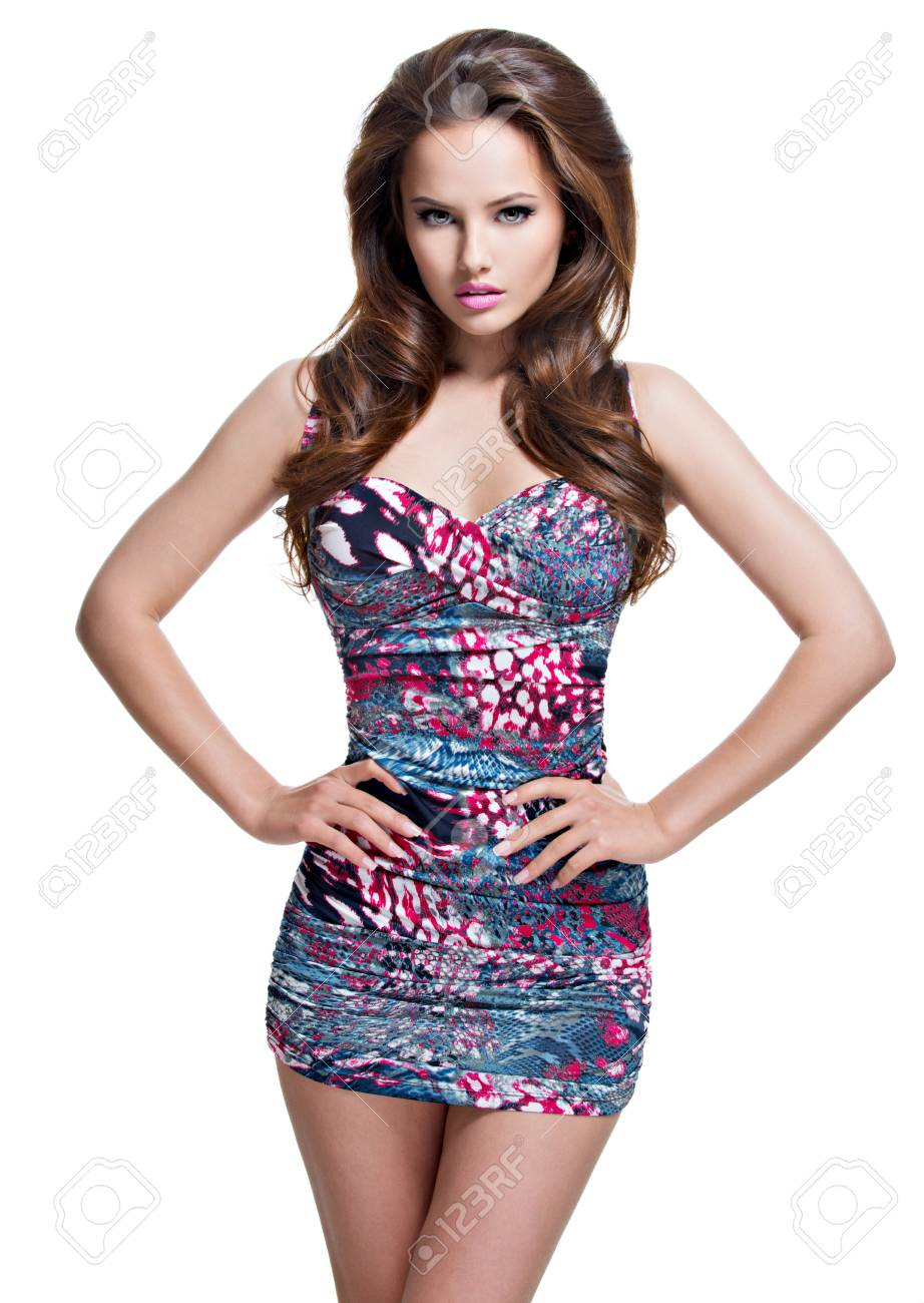 Full Length Of Fashion Model Posing In Mini Skirt Portrait Stock Photo Picture And Royalty Free Image Image 63432025