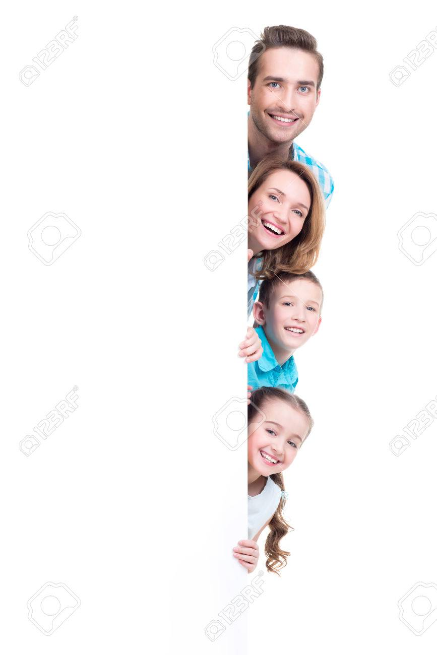 Young family with looking out of the banner - isolated on a white background Banque d'images - 63194217