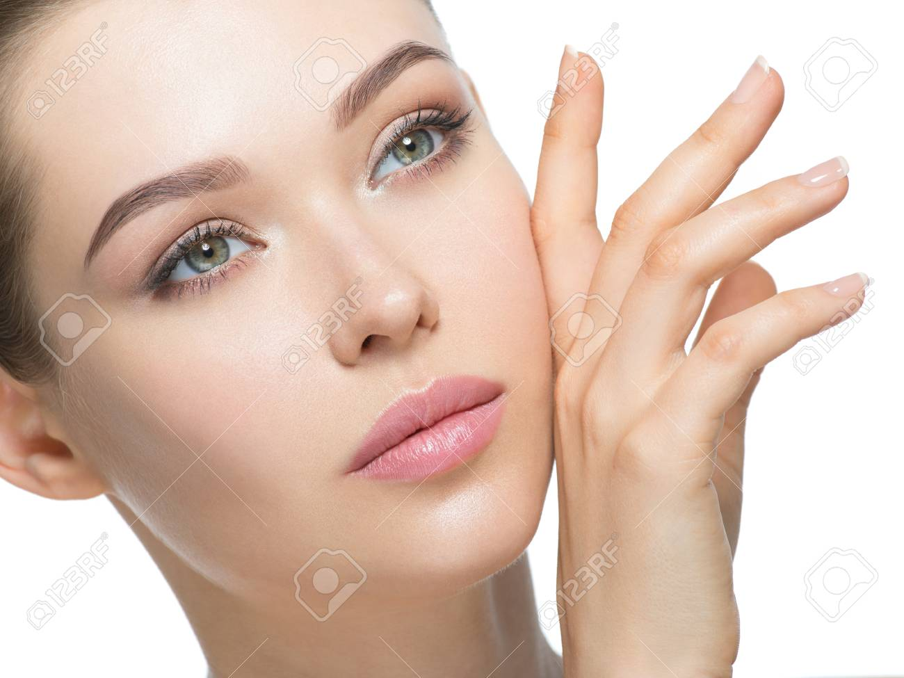 Young woman with beautiful face and clean fresh skin. Skin care concept. Beauty treatment. - 88948448