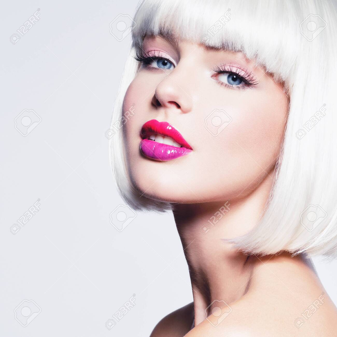 Fashion Stylish Portrait With White Short Hair Beautiful Girl S Stock Photo Picture And Royalty Free Image Image 122585591