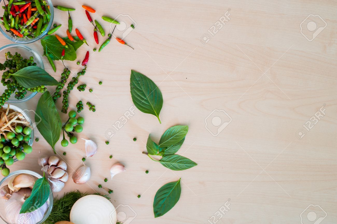Flat Lay Thai Basil Or Thyme Leaf Order With Herbal On Wood Background Stock Photo Picture And Royalty Free Image Image 63895325