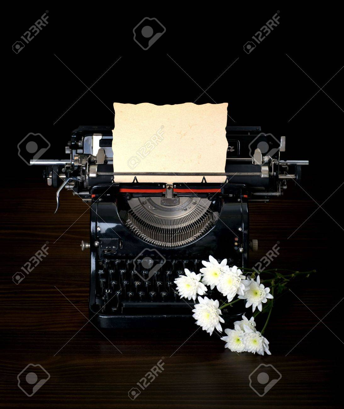 antique typing machine with paper for text  and flowers Stock Photo - 7070782