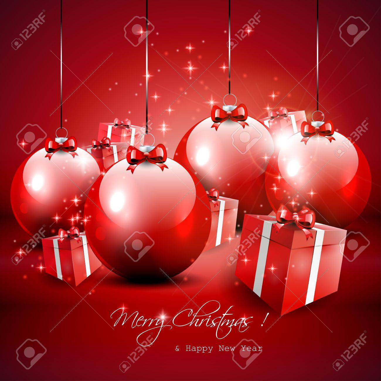 Elegant red Christmas background with baubles and gifts Stock Vector - 17544744