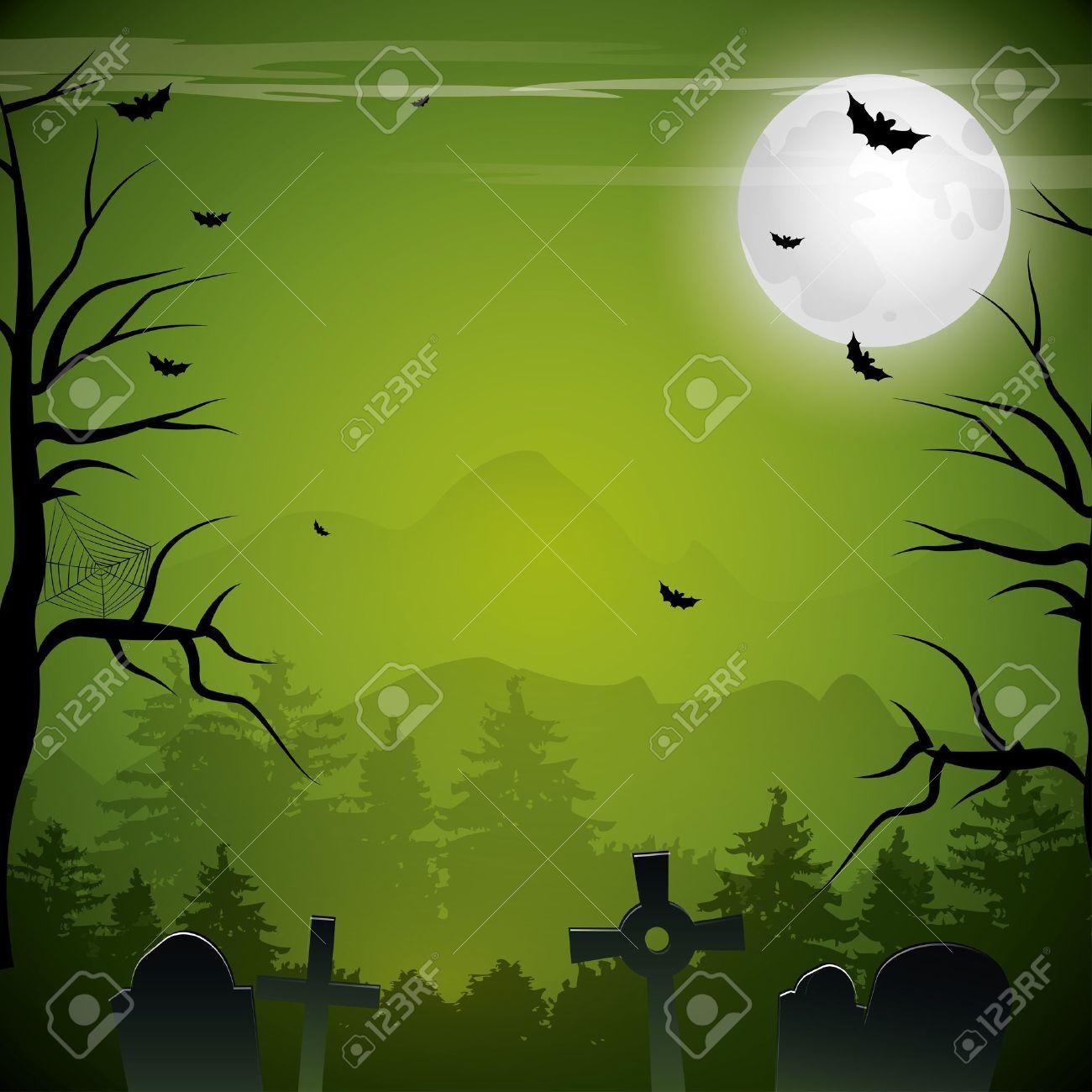 Green Halloween background - 17676008