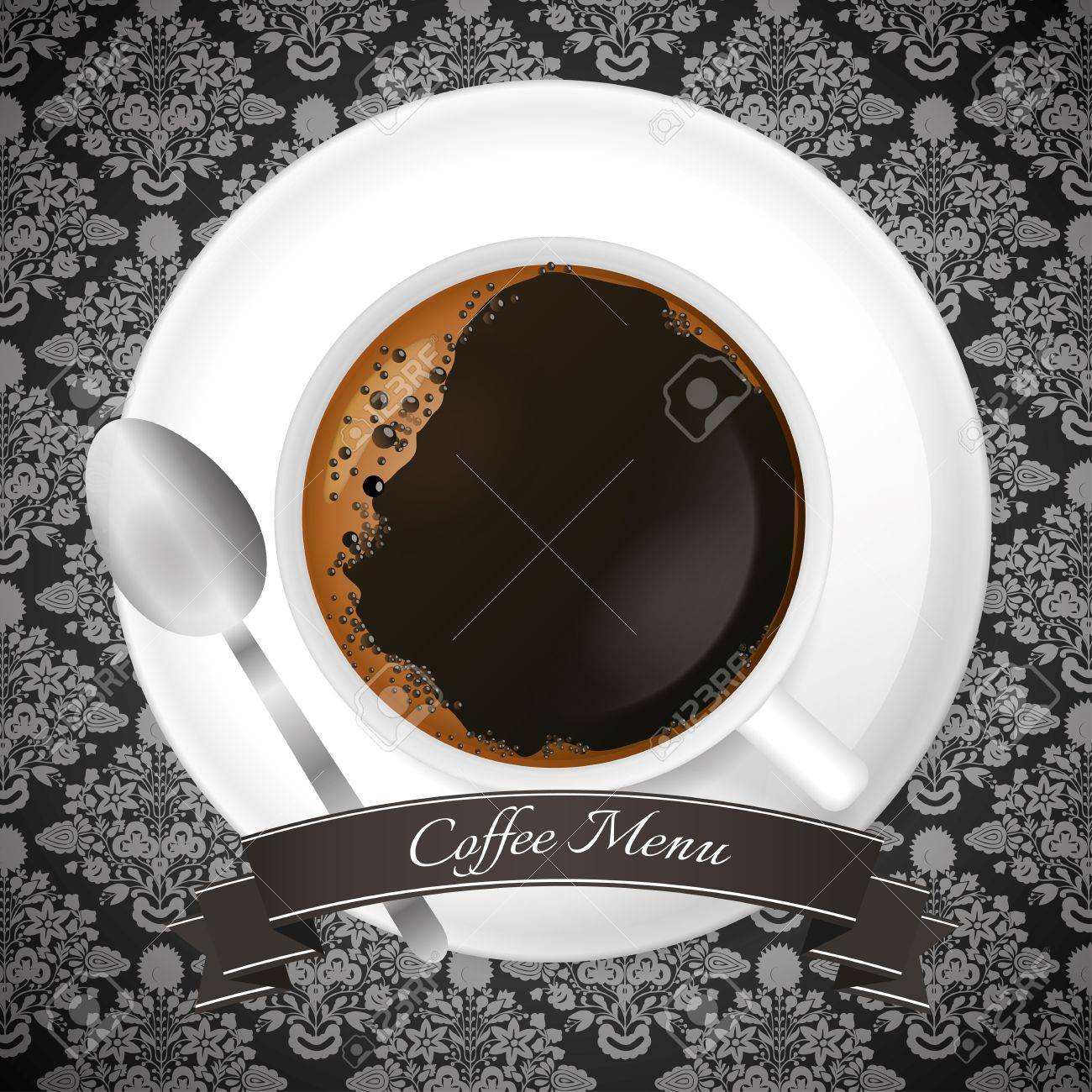 Luxury coffee menu design with cup and brown ribbon Stock Vector - 17676098