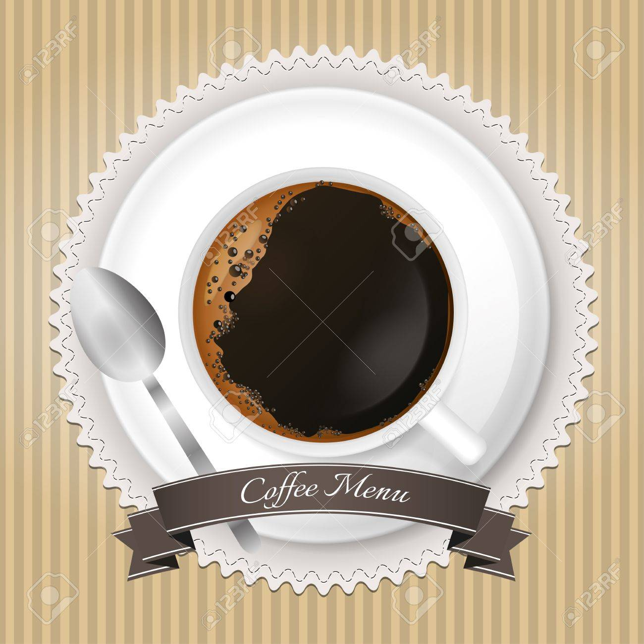 Coffee menu background with cup and brown ribbon Stock Vector - 17676102