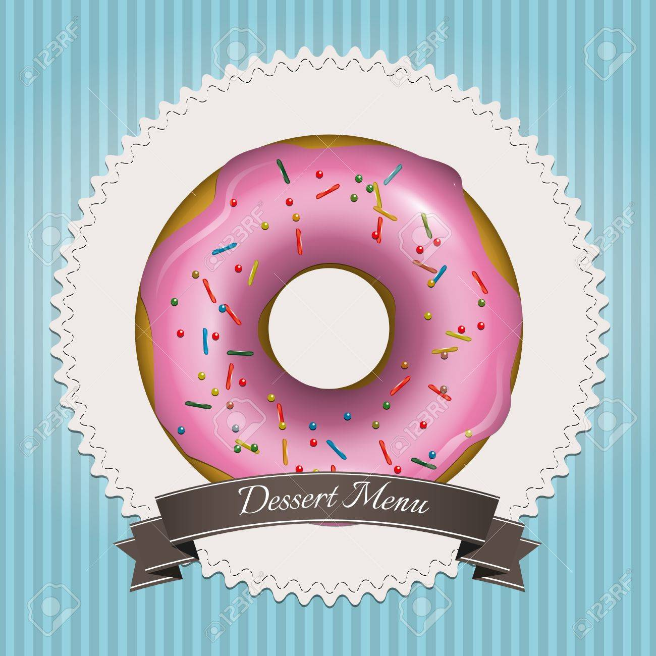 Sweet dessert menu design with pink donut and brown ribbon Stock Vector - 17676095