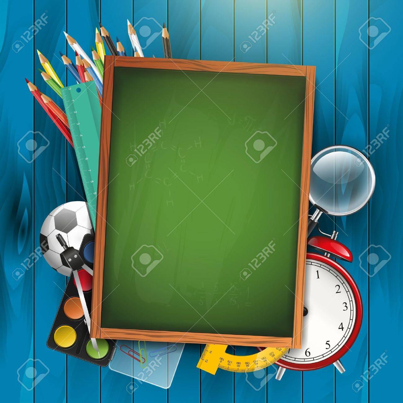 Empty cartoon classroom background - Education Background School Supplies And Empty Green Chalkboard