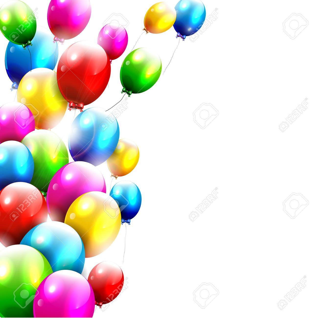 Modern birthday balloons on white background Stock Vector - 18587184