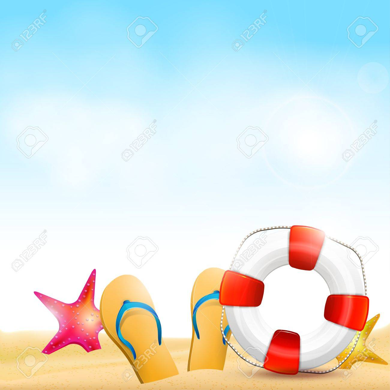 5b02d15bf Flip-flops and safety circle on the beach - summer background Stock Vector  - 20182654