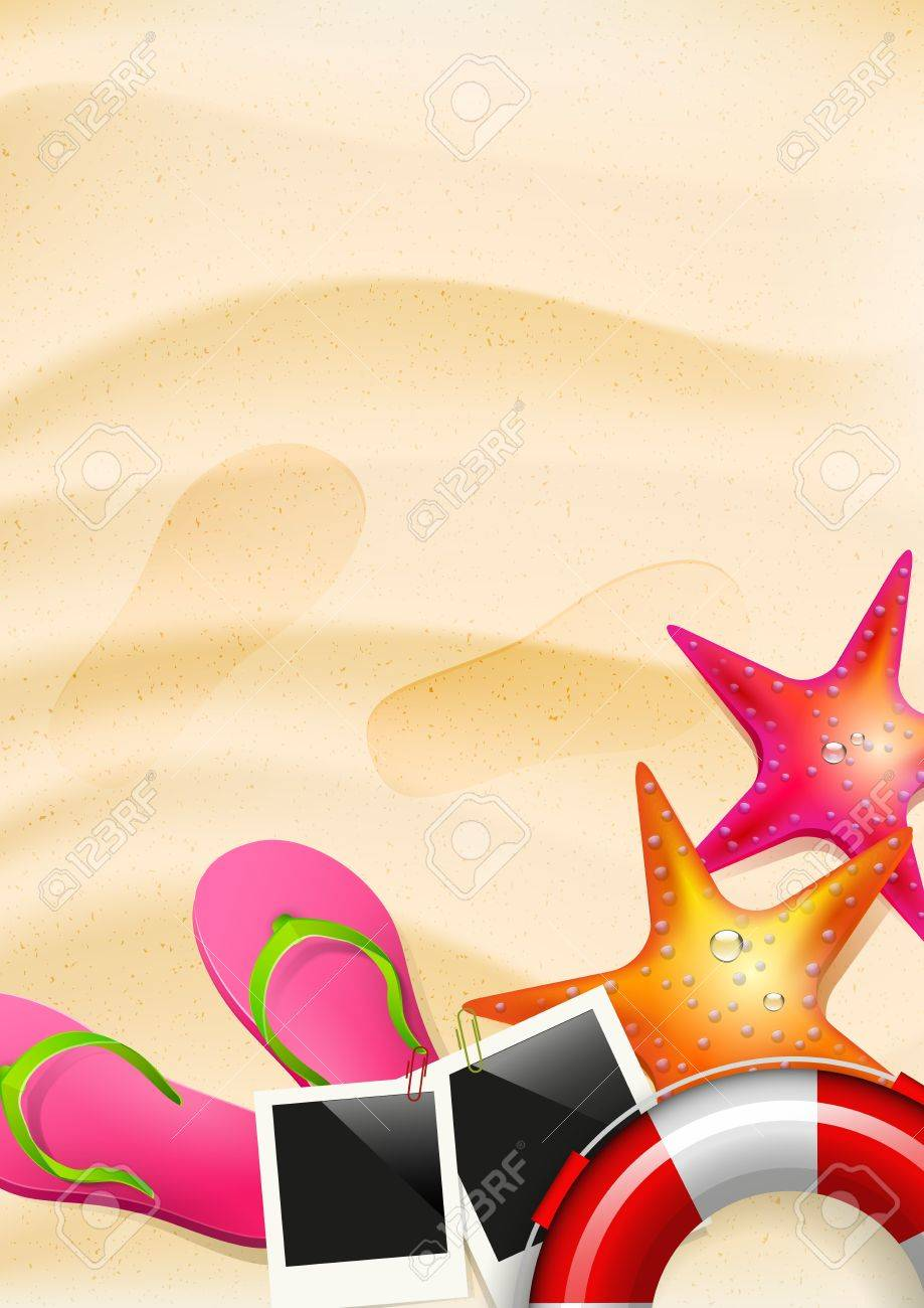 Sand with flip-flops, seastar and safety circle - summer background Stock Vector - 20182597