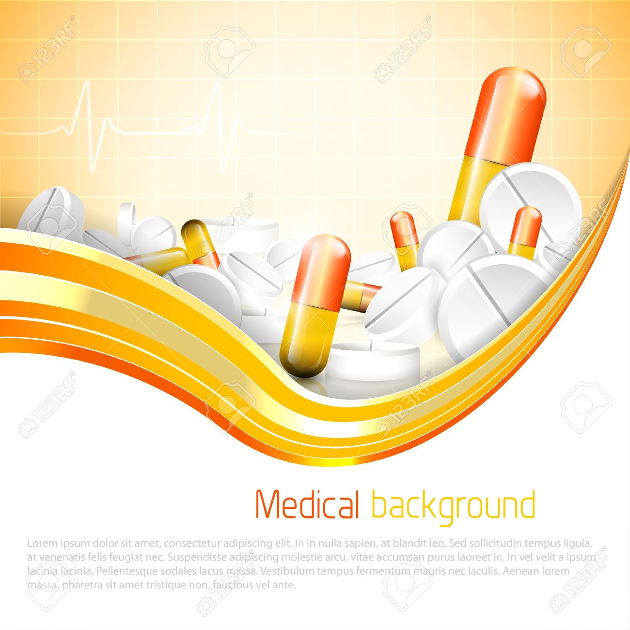 Pills and tablets on orange background Stock Vector - 20182664
