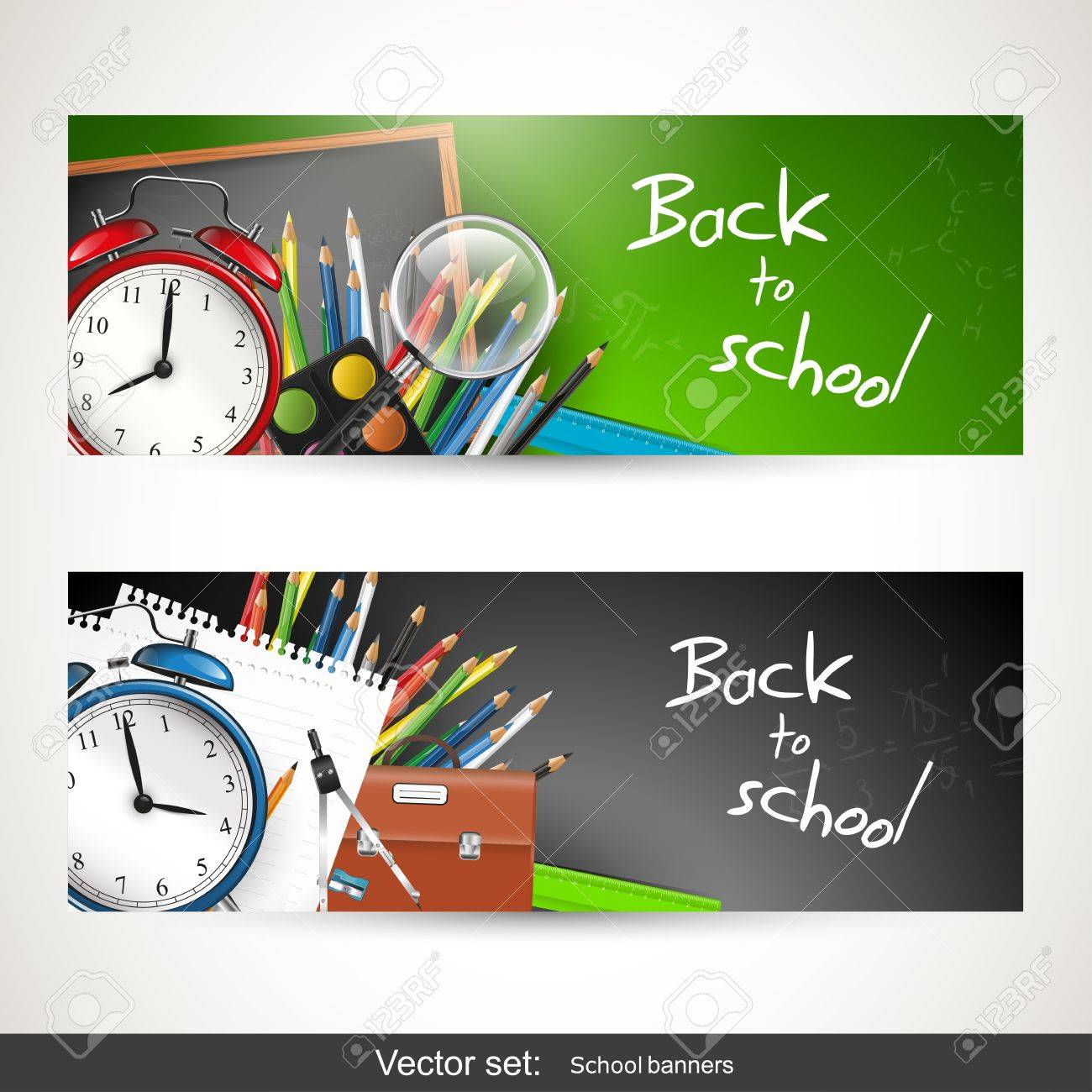 Set of two banners with school supplies Stock Vector - 20182676