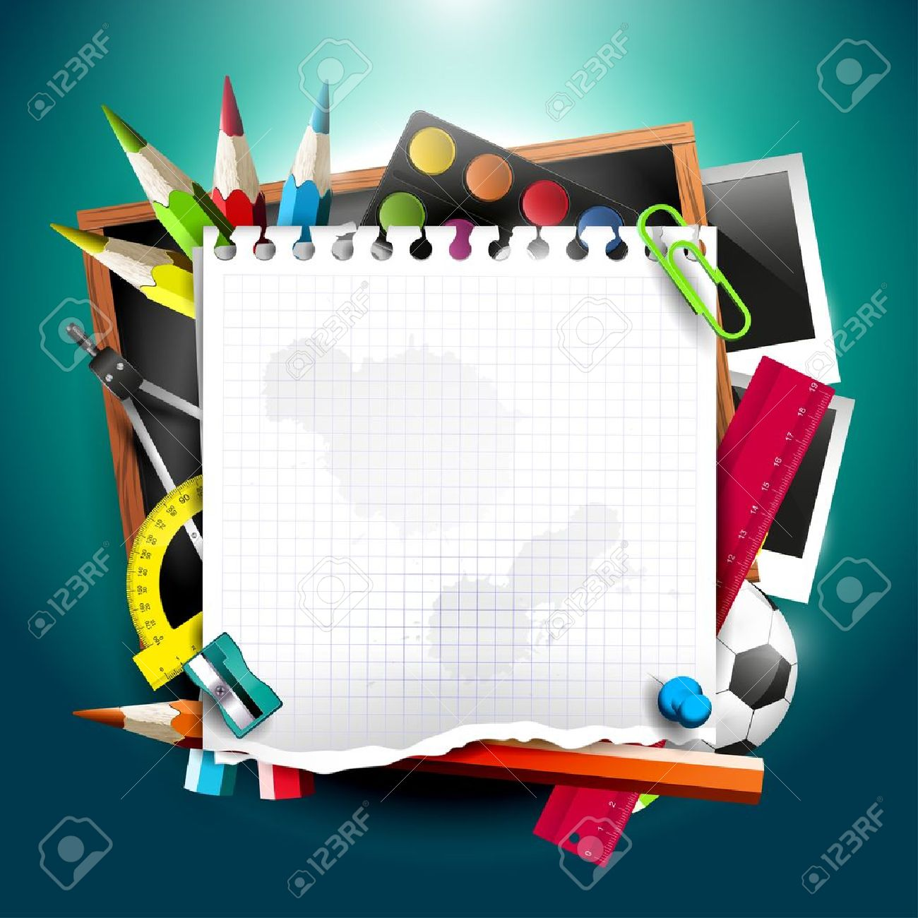 Modern school background with school supplies and empty paper Stock Vector - 20902782