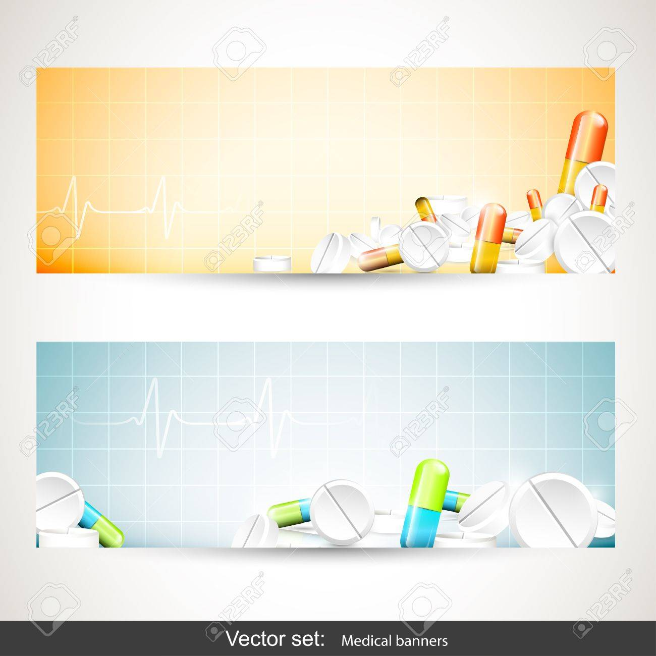 Set of two medical banners with pills and tablets Stock Vector - 20902800