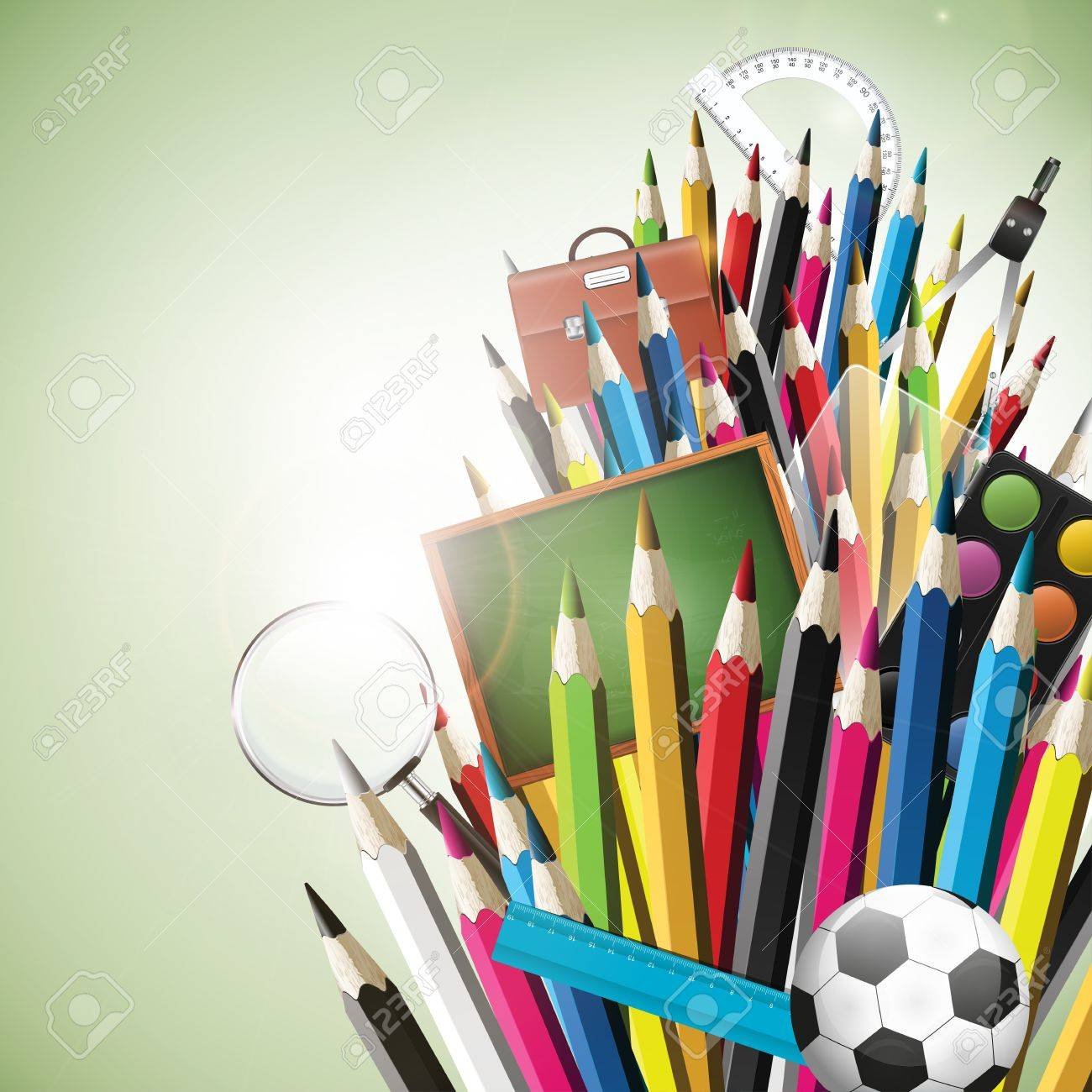Colorful crayons with school supplies on freen background Stock Vector - 20902806