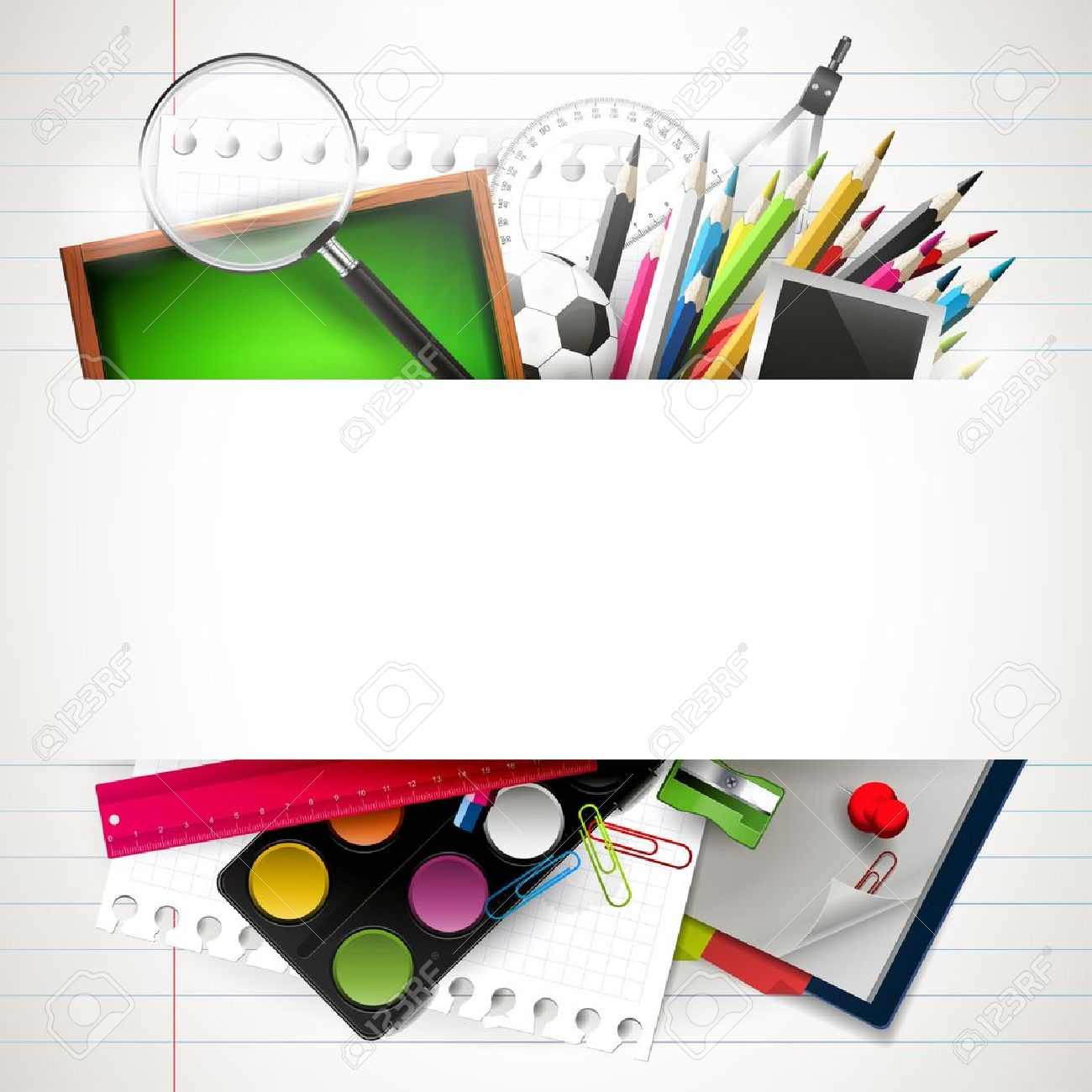School background with school supplies and copyspace Stock Vector - 21180188