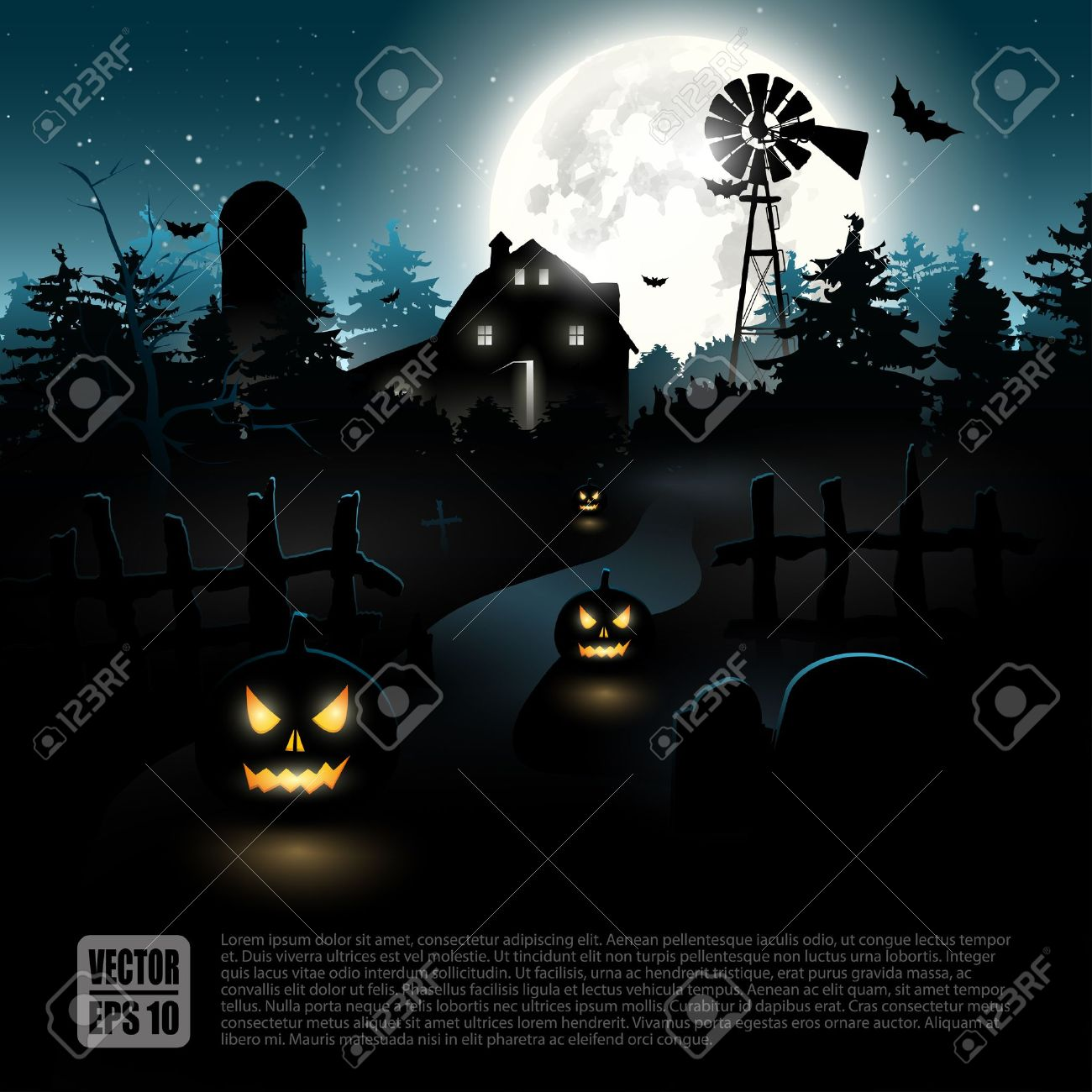 Haunted farmhouse in the woods - Halloween poster Stock Vector - 21541282