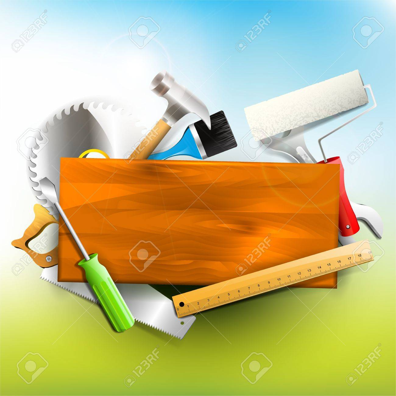 Hand tools and empty chalkboard - Carpentry background Stock Vector - 21910747