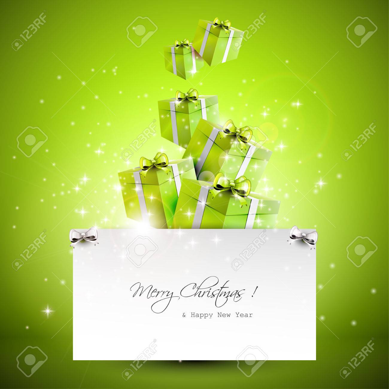 Flying gift boxes and paper with place for text - Christmas background Stock Vector - 22561674