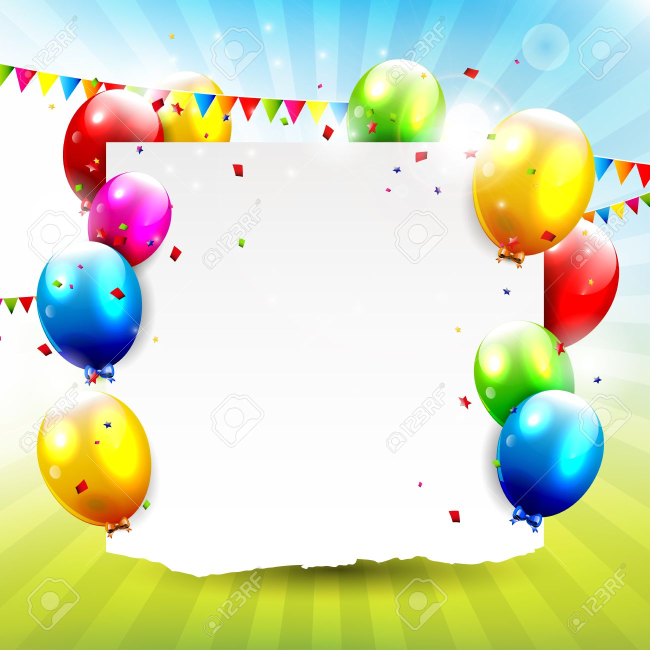 Colorful balloons with empty paper - Birthday background Stock Vector - 22860754