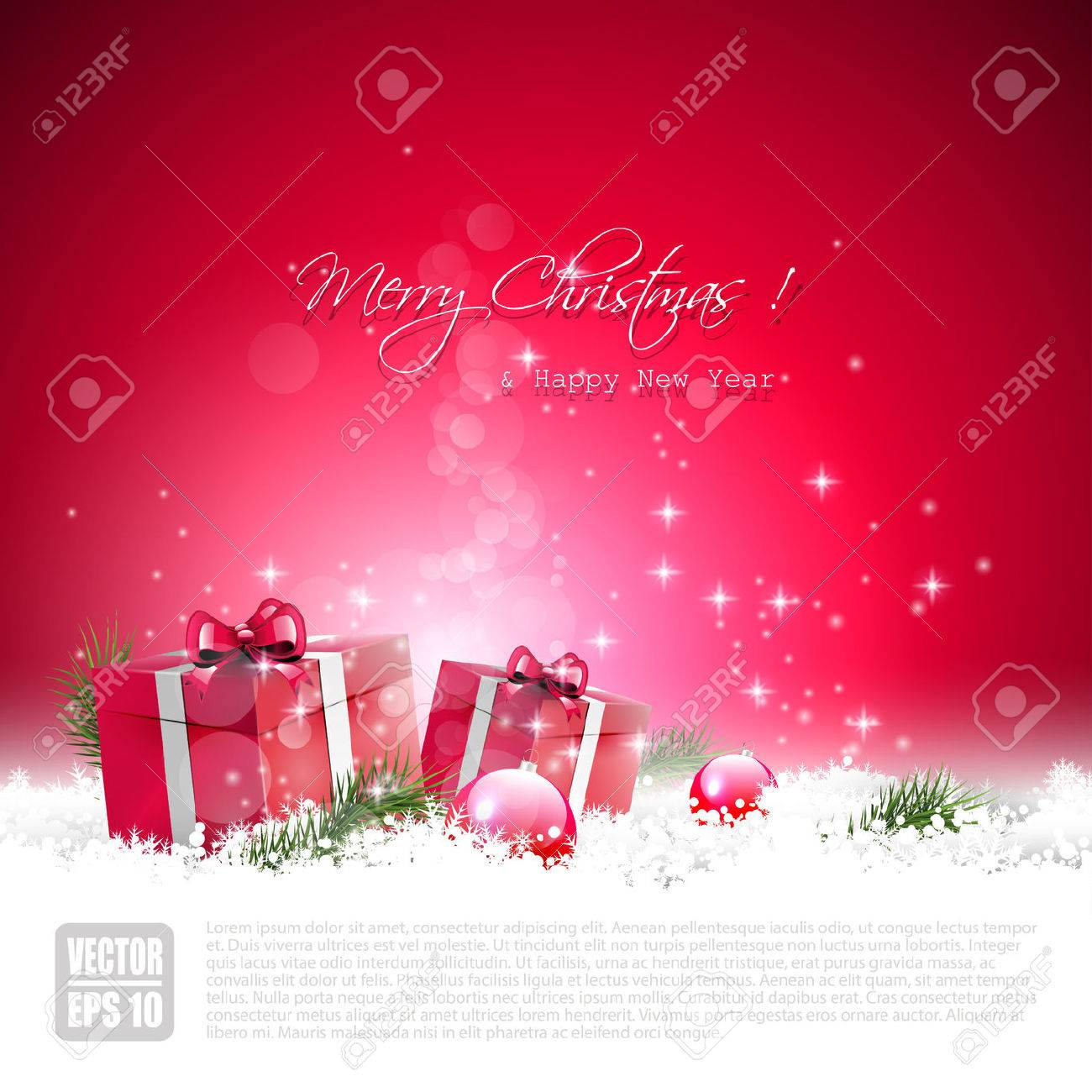 Red Christmas greeting card with gift boxes and baubles in the snow Stock Vector - 22860763