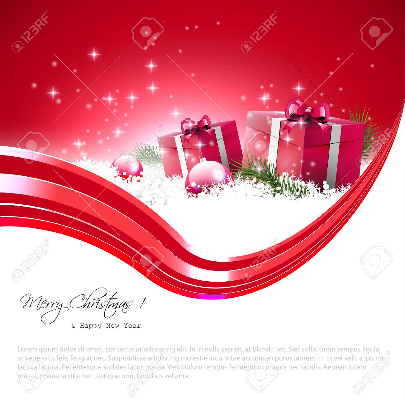 Modern red Christmas background with gift boxes, baubles and place for text Stock Vector - 23642580