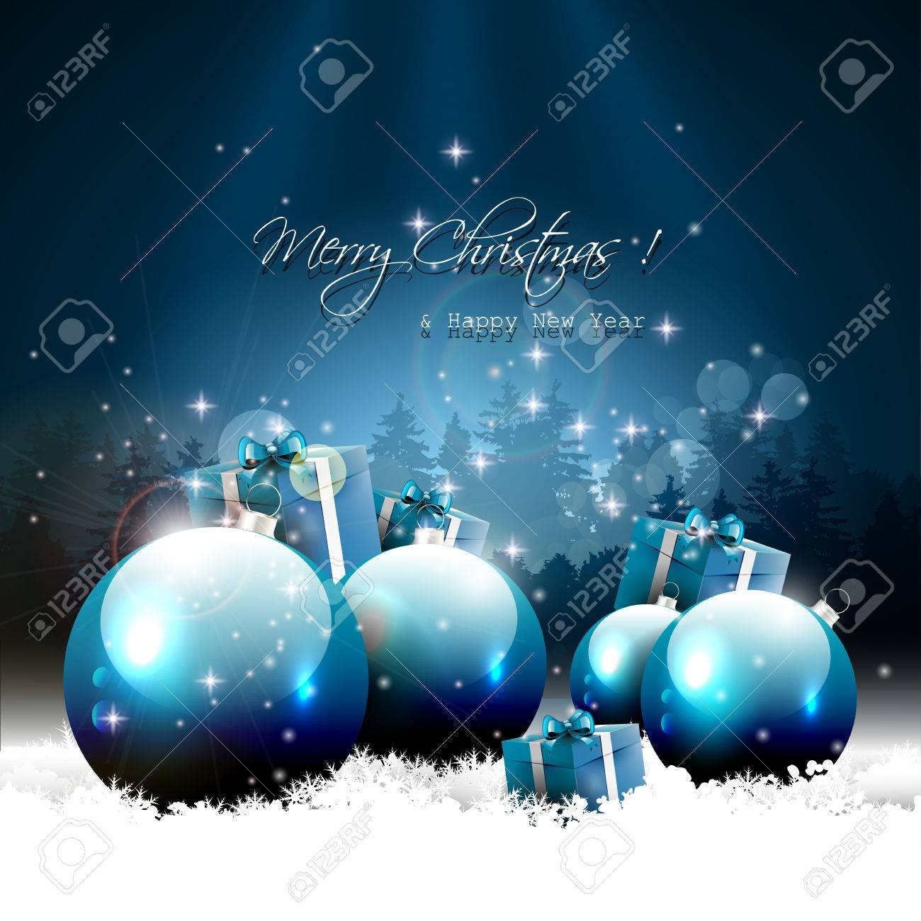 Modern Christmas greeting card with balls and gifts in snow Stock Vector - 23872934