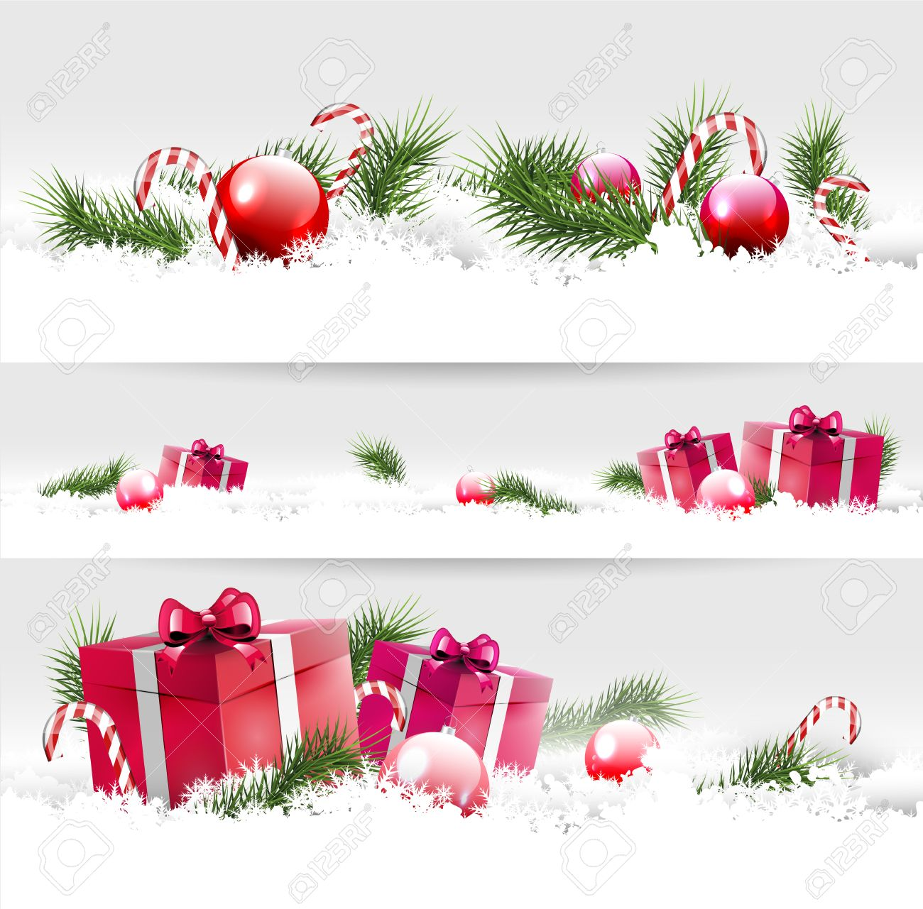 Set of three Christmas borders with gifts, balls and branches Stock Vector - 24250091