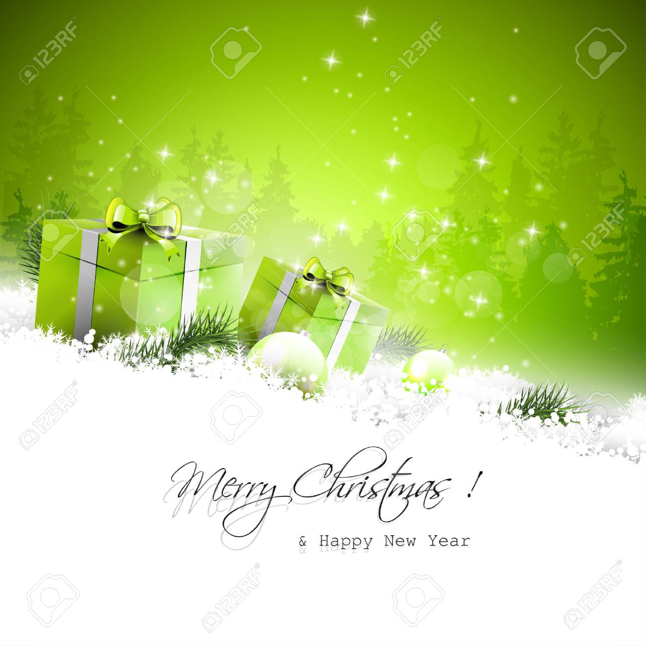 Christmas greeting card with gift boxes and branches in snow Stock Vector - 24250142