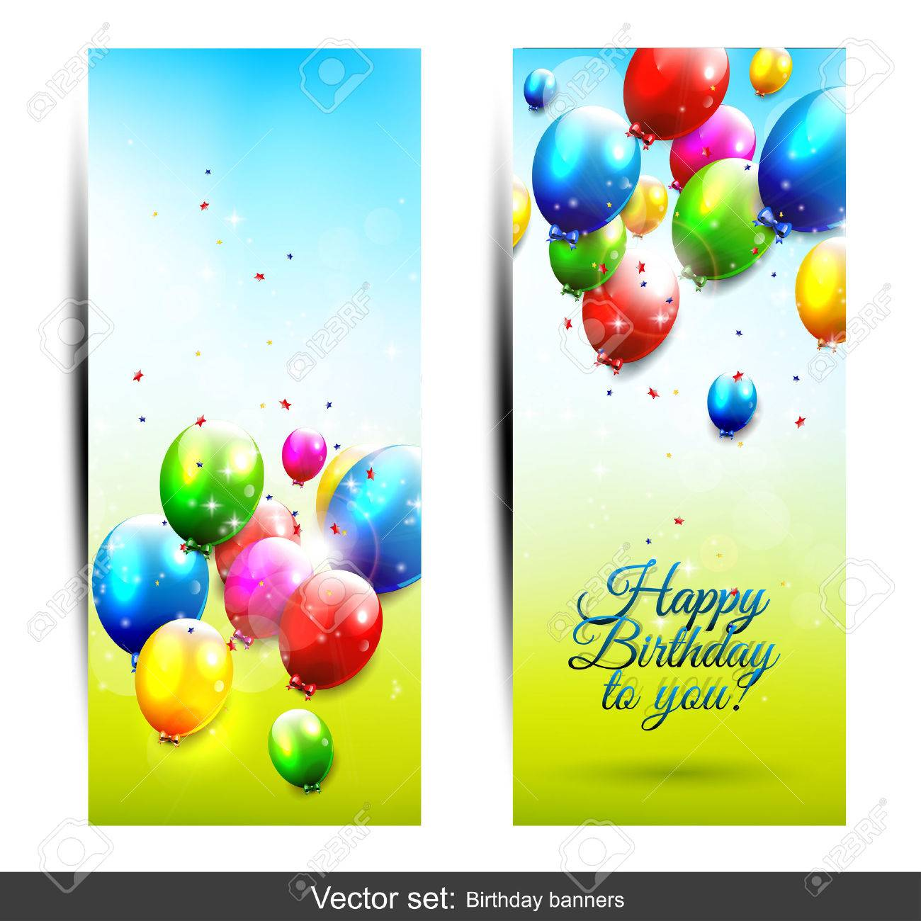 set of two vertical birthday banners with flying baloons royalty