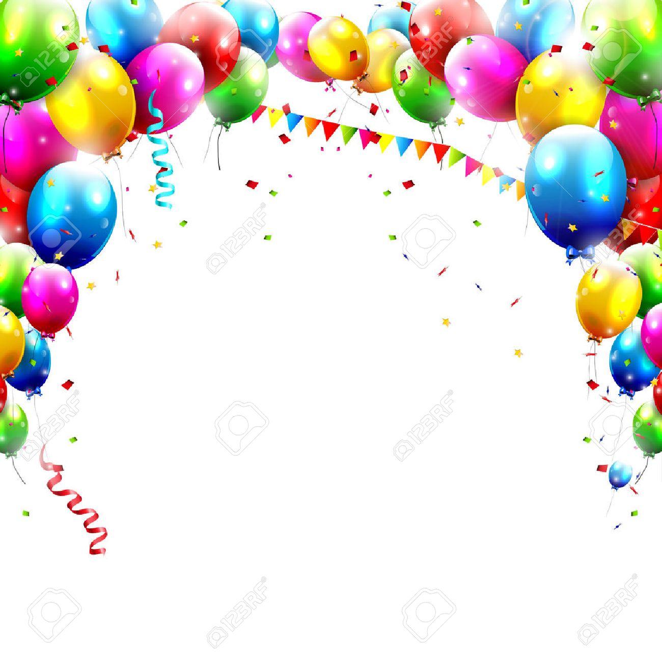 Ballons Danniversaire Coloful Isolé Sur Fond Blanc