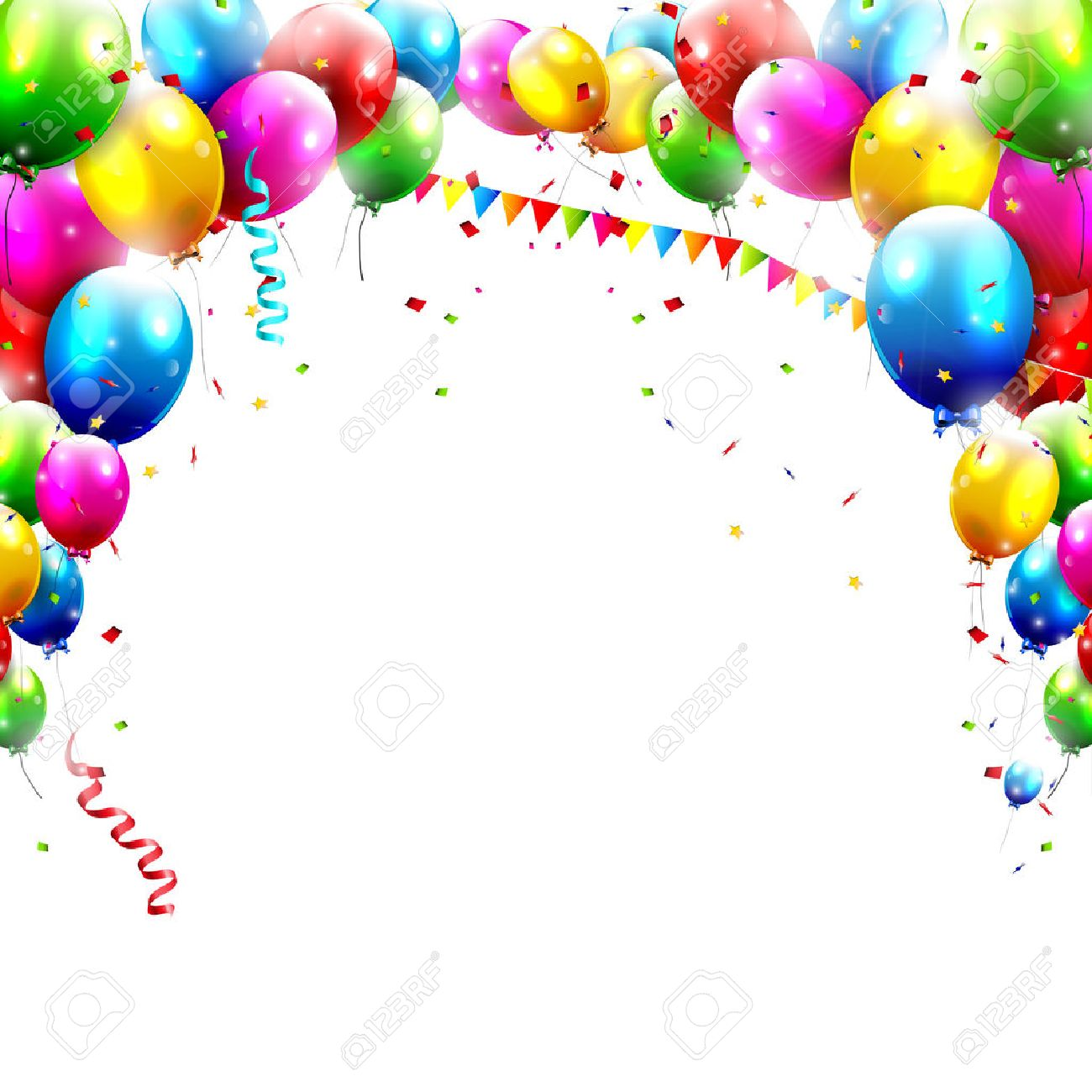 Coloful Birthday Balloons Isolated On White Background Royalty Free