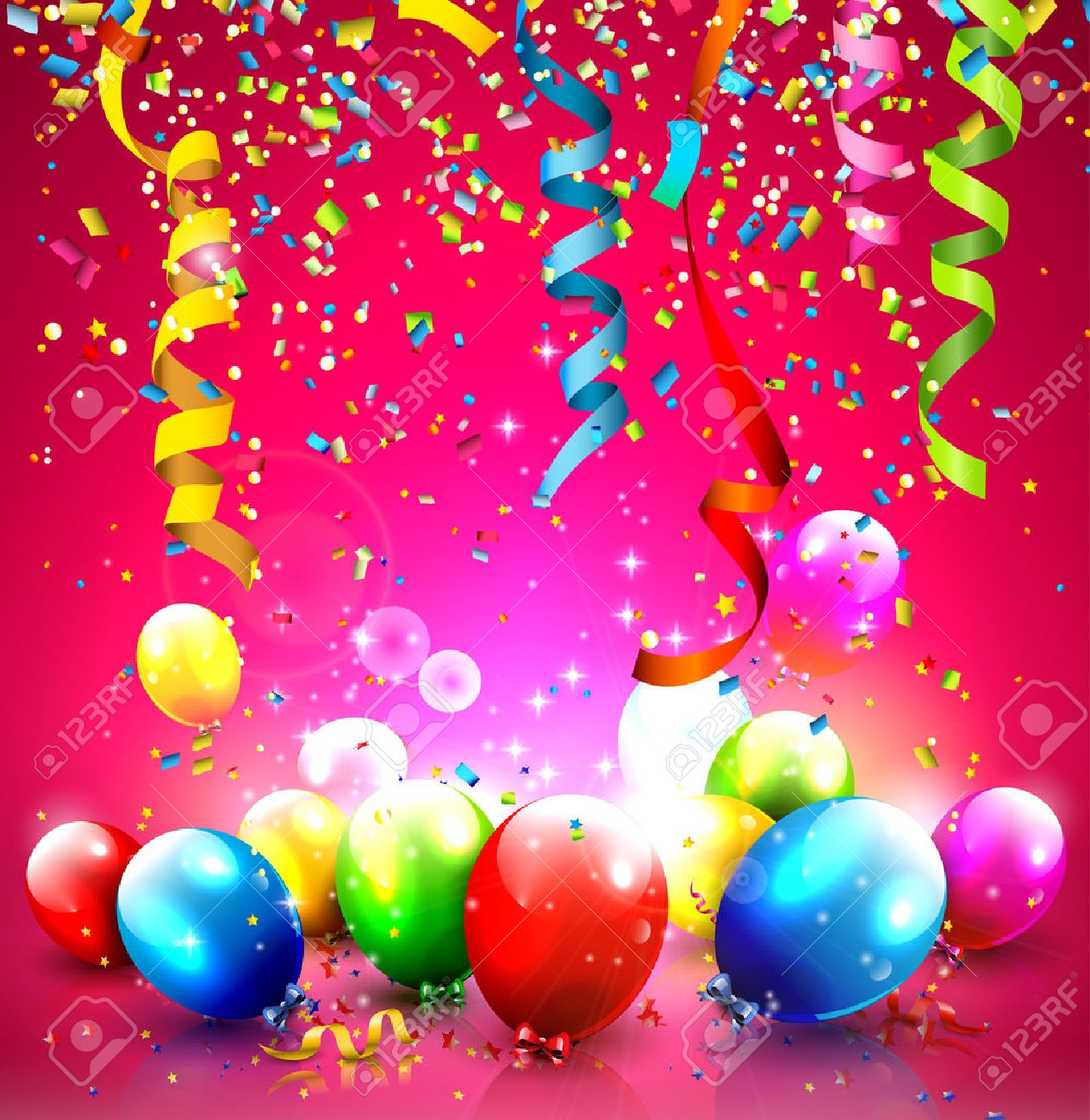 Birthday background with colorful balloons and confetti - 25434255