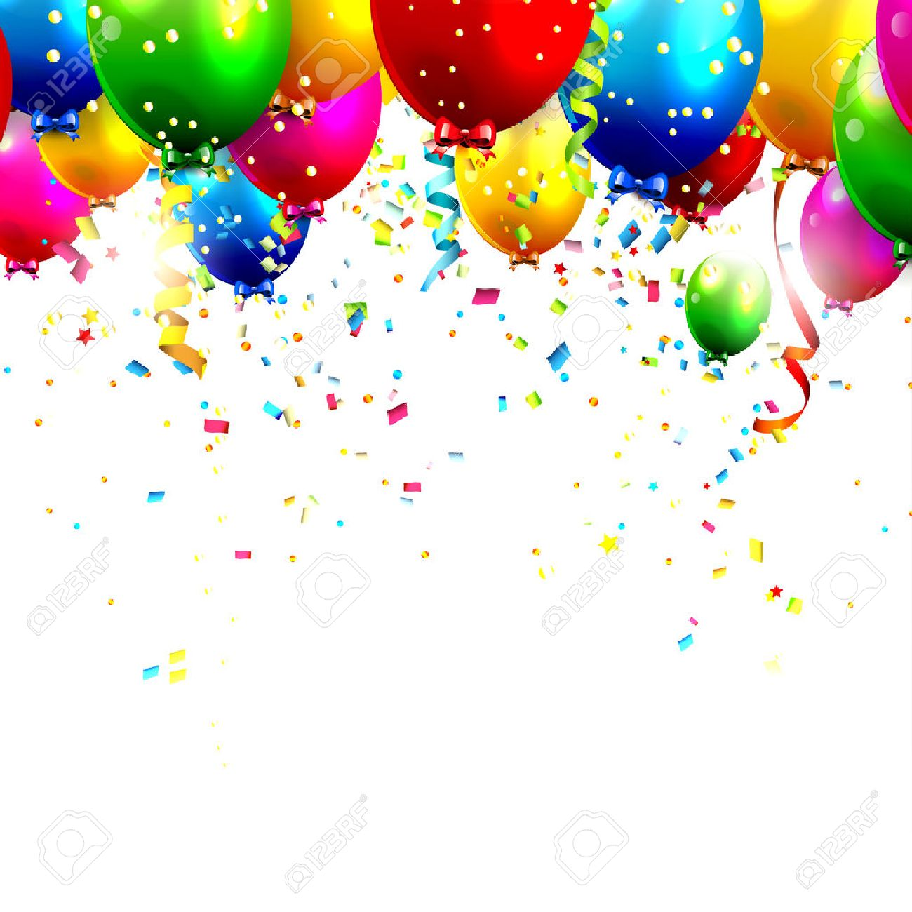colorful birthday balloons and confetti royalty free cliparts