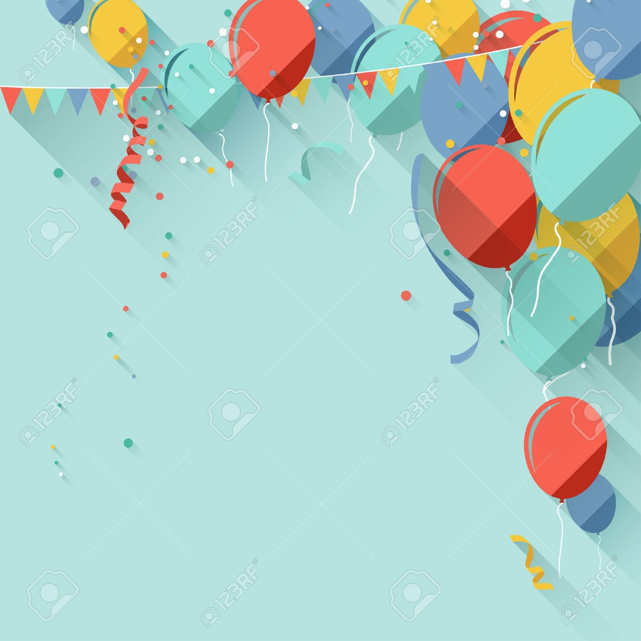 colorful birthday background in flat design style royalty free