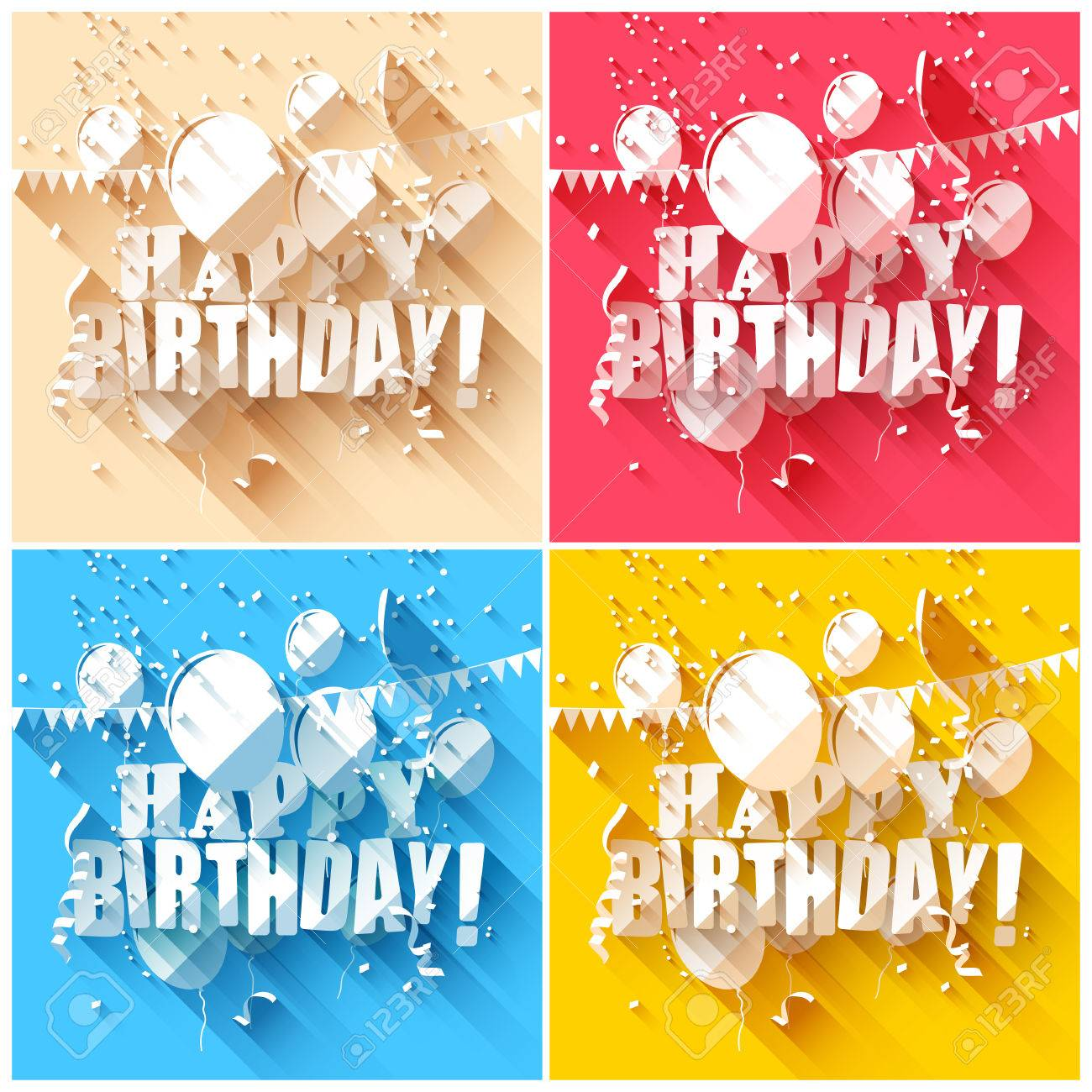 set of birthday backgrounds in flat design style royalty free