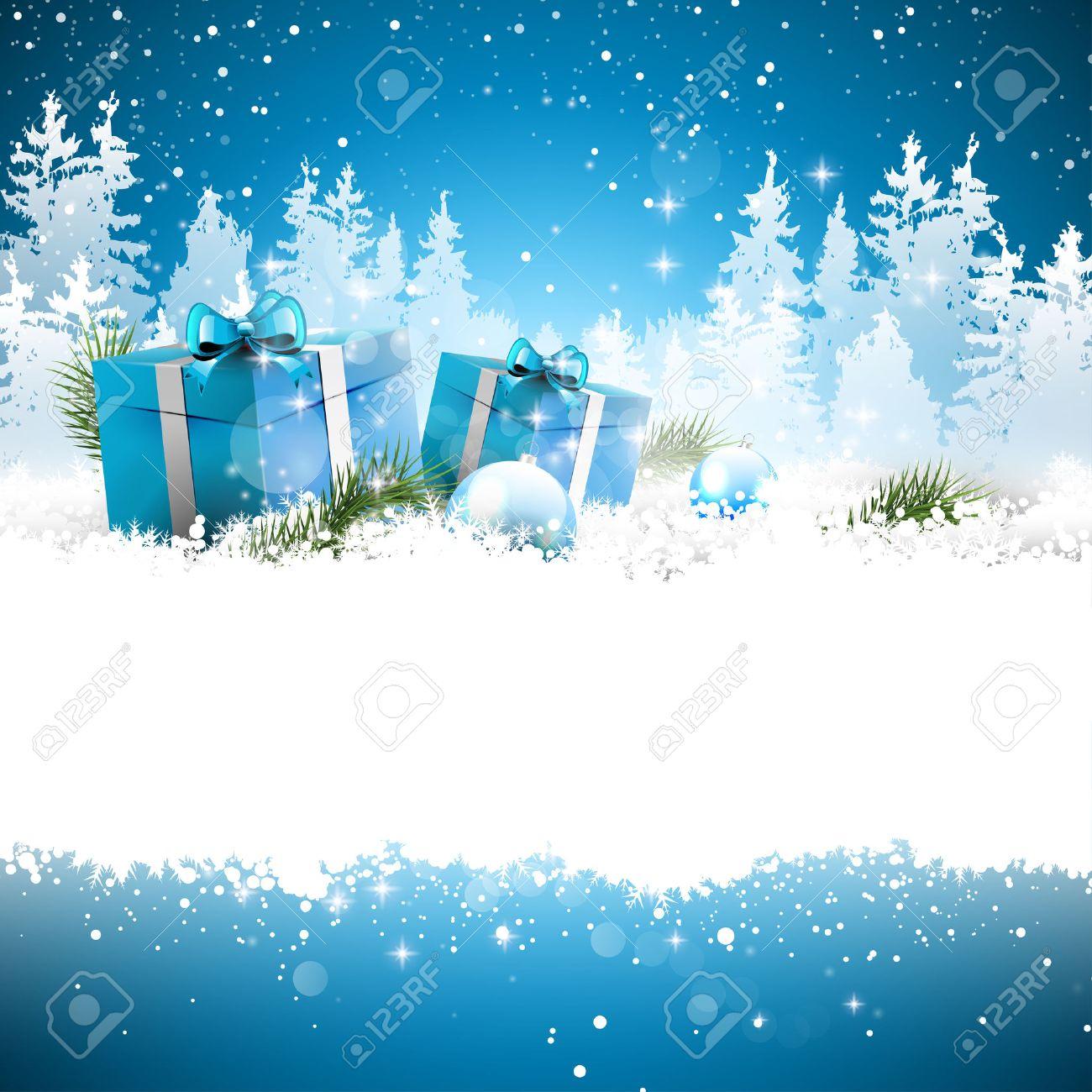Boîtes à Cadeaux De Noël Dans La Neige Avec Paysage Enneigé Sur Le