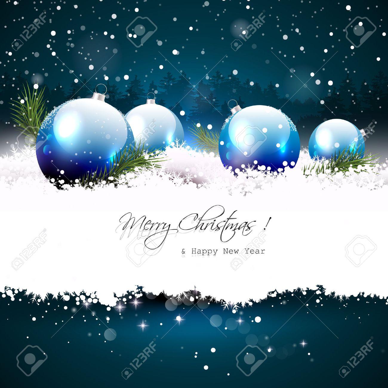 carte de voeux de noel Carte De Voeux De Noël Avec Des Boules Et Des Branches Dans La