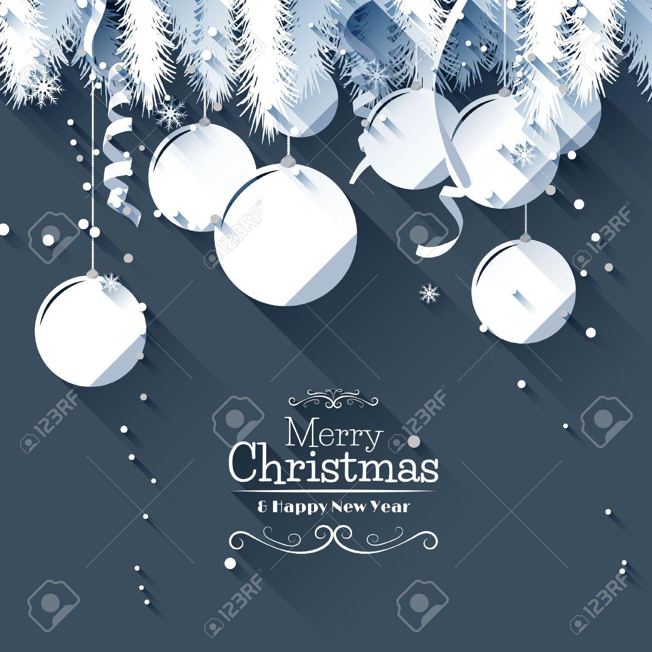 Moderne Carte De Voeux De Noël   Style Design Plat Clip Art Libres