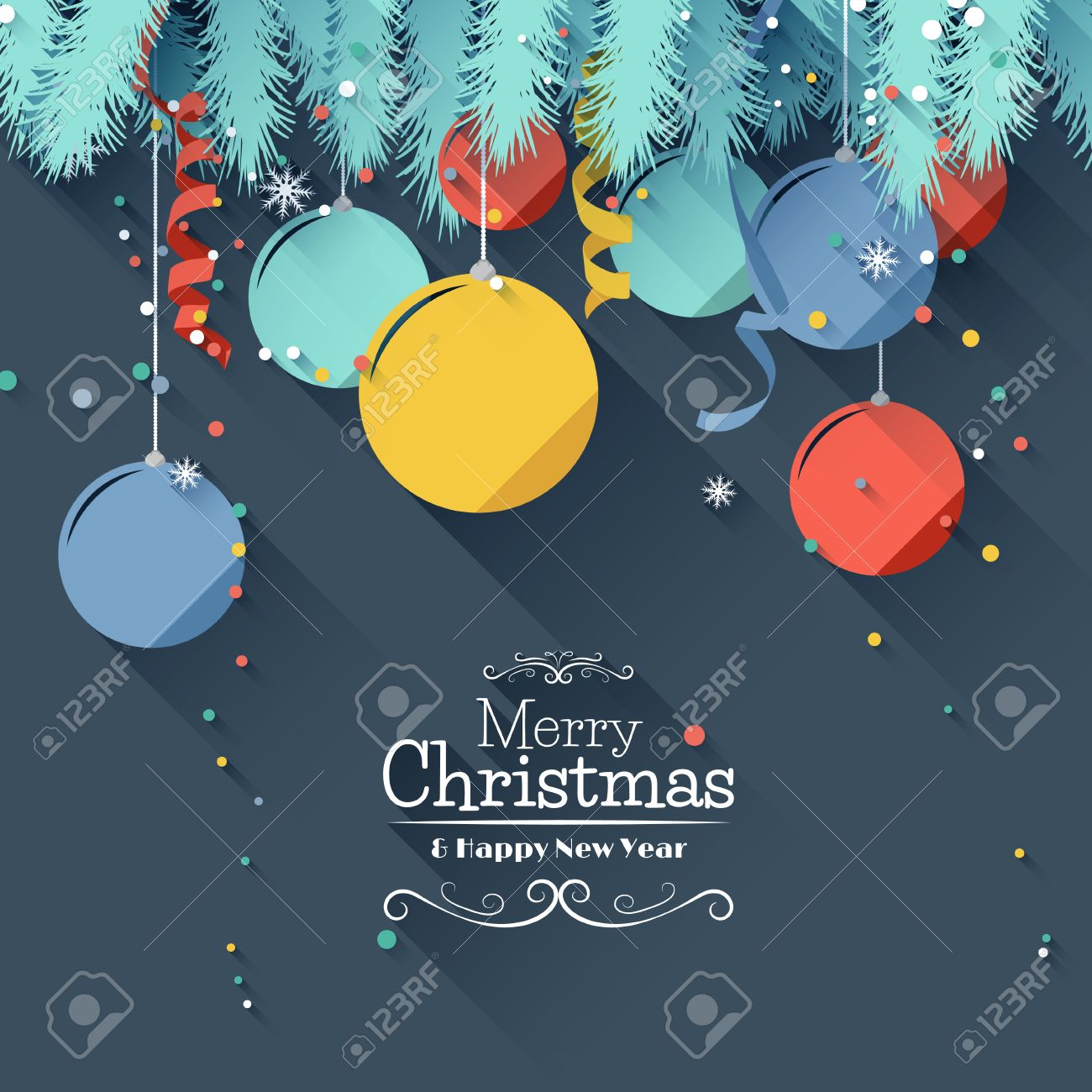Modern Christmas Greeting Card Flat Design Style Royalty Free